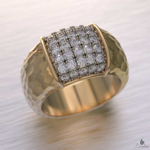Hammered Diamond Cluster Ring
