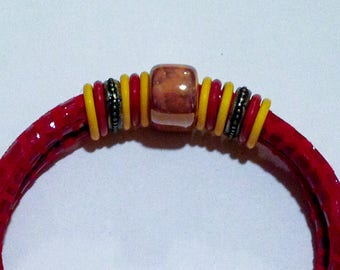 Red and gold round leather bracelet