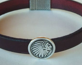 Flat Leather, Indian Head Bracelet