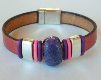 Pink metallic leather bracelet