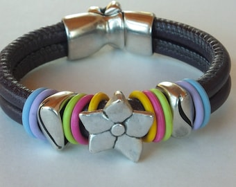 Soft purple leather bracelet