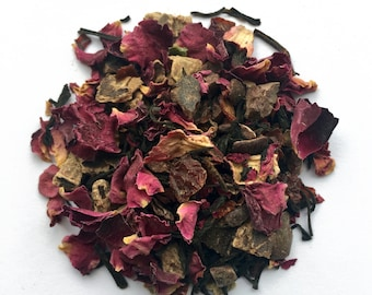 Black Tea with Rose: Turkish Tea-Light, chocolate tea, rose tea, turkish delight, keemun tea, loose tea, tea gift, gift for tea lover