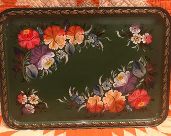 Vintage Green Russian Toleware Tray, Signed