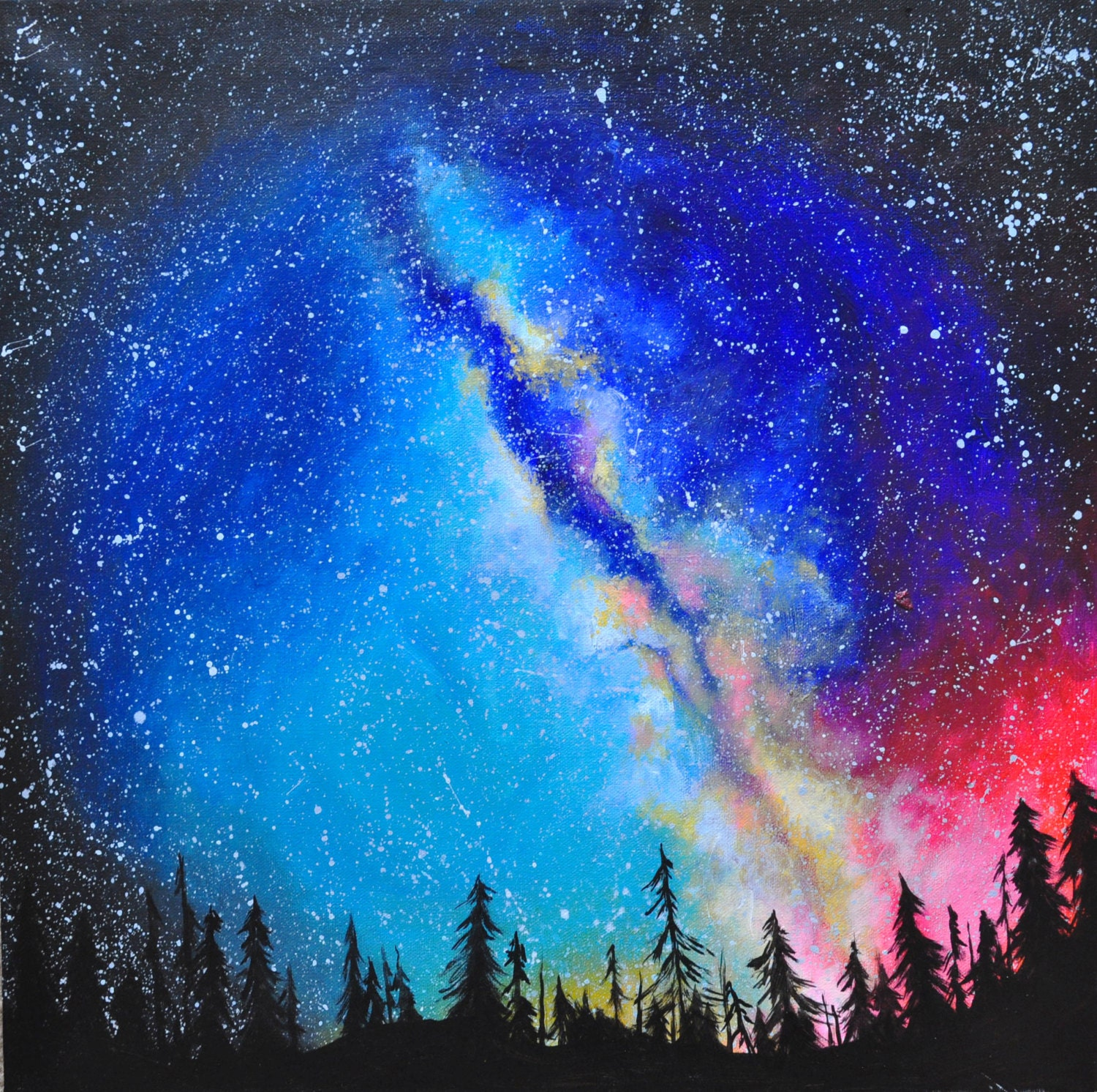 Colorful Galaxy Forest Painting Space Art Cosmic Art ...
