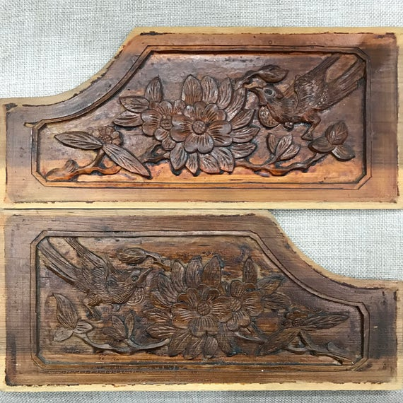 One Pair Of Carved Wood Panel Handmade By Old Chinese Folk Etsy