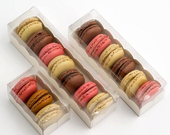 PACKAGING ONLY - 10 Macaron Boxes Clear With Insert Large,Medium & Small Available (macaroon/ribbon not included)