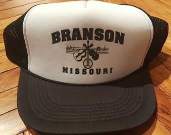 14bf2c1f469 Vintage Hat Vintage Trucker Hat Snapback Hat Branson Missouri Hat 1980s Hat  Mesh Hat Foam Hat Vintage Baseball Cap Baseball Hat Black