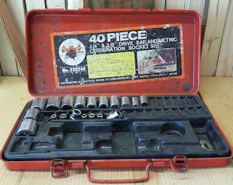 Vintage Tool Set Socket Set Buffalo Brand Tools Metal Tool Box Industrial Storage Case Salvaged Box Tools Hardware Patina Distressed Garage