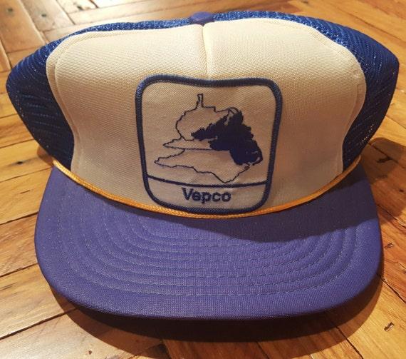 aed6430a250 Vintage Trucker Hat Vintage Hat Snapback Hat Vepco Power Hat