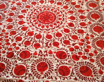 Silk Embroidered Cotton Bedspread 102 x 72 Inches (2.55 x 1.9 Meters)