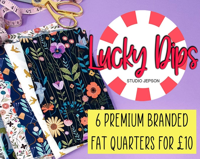 Featured listing image: Fat Quarter fabric bundle,   Cotton Fabric Fat quarter bundle lucky dip,    Quilting cotton fabric Fat quarter bundle,    Fat quarter gift
