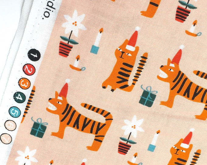 Featured listing image: Holiday Cotton Fabric - Dashwood Christmas Fabric - Christmas Cats Fabric - Modern Christmas