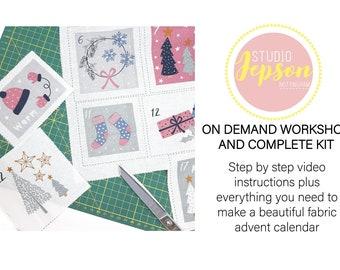 Fabric Advent calendar kit - DIY fabric advent calendar kit  - Craft Cotton Co Sew your own advent calendar wall hanging & video workshop