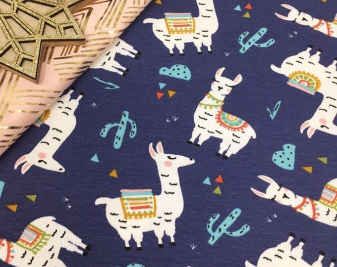 Llama printed cotton jersey knit fabric - Higgs and Higgs childrens printed fabric for leggings