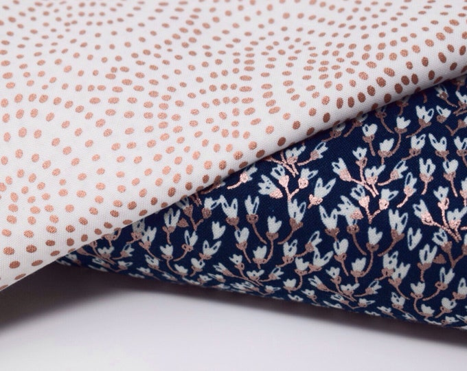 Navy rose gold fabric, rose gold fabric, floral fabric, floral cotton, rose gold cotton, riley blake fabric, riley blake rose gold, quilting