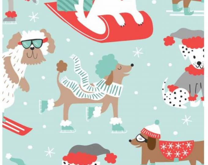 Blend Christmas dog fabric  I  Blend snowlandia printed cotton  I  Christmas fabric UK  I  Christmas fabric by the metre