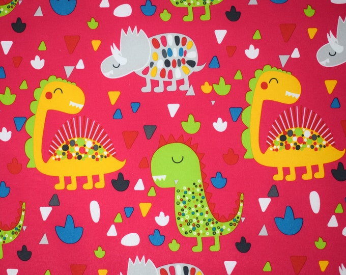 Printed waterproof fabric - Printed soft shell for coats - Dinosaur printed fabric - Waterproof fleece fabric by the metre