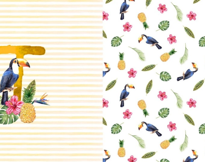 Jersey knit fabric panel for t shirts - Toucan digital print cotton elastane panel -  Jersey dress panel -  Toucan cotton fabric