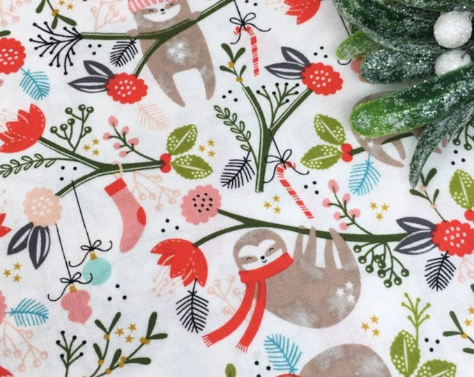 Sloth Fabric By The Metre - Christmas Holiday Fabric - Dashwood Christmas Party Sloth Printed Cotton Fabric