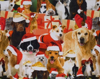 Christmas print jersey, christmas jersey, dog print, christmas dog fabric, 95 cotton 5 elastane, stretch fabrics, christmas kids fabric