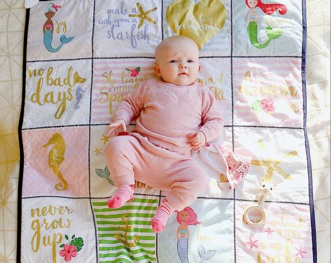 Riley Blake Let's be mermaids panel - Baby blanket cheater quilt panel - Mermaid fabric panel - DIY baby blanket fabric - Quilting panel