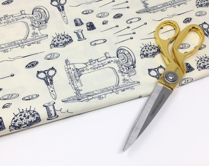 Vintage Sewing lover printed cotton - Scissor print cotton by the metre - Sewing tool cotton poplin fabric