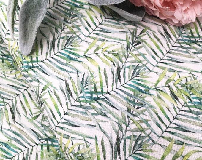 Botanical print watercolour fabric  I  Bohemian fabric home decor fabric  I  Summer fabric leaf printed cotton I Painted floral fabric