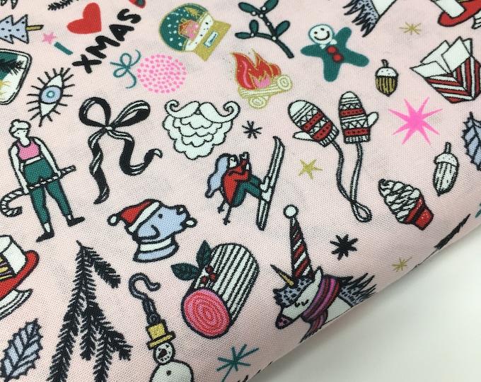 Rico christmas, christmas fabric, unicorn print, christmas tree print, christmas mittens, santa fabric, 100% woven cotton, pink fabric