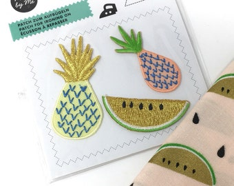 Embroidered patches  -  Metallic embroidered motif  -  Embdroidered fruit applique