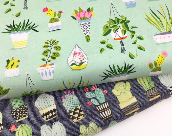 Michael Miller fabric, Michael Miller Flower shop fabric, Flower shop print, cactus print, cactus cotton, fabric by the metre