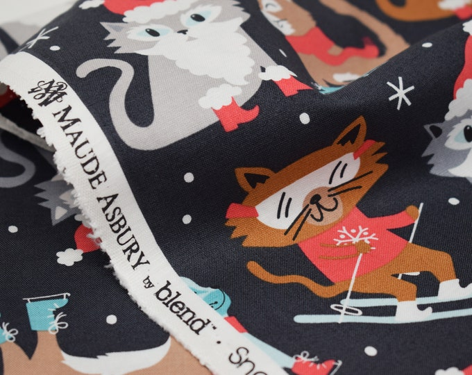 Blend Christmas cat fabric  I  Blend snowlandia printed cotton  I  Christmas cat cotton  I  Christmas fabric by the metre