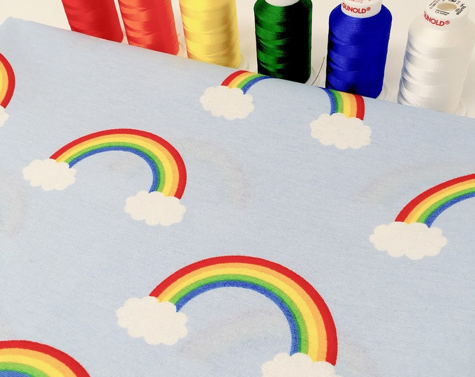 Rainbow upholstery fabric by the metre - Unisex nursery decor fabric - Rainbow printed cotton fabric
