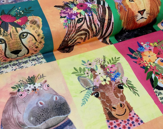 Wildflowers painted jungle animal printed cotton fabric - Blend junglemania cheater quilt panel - Animal print quilt fabric by the metre