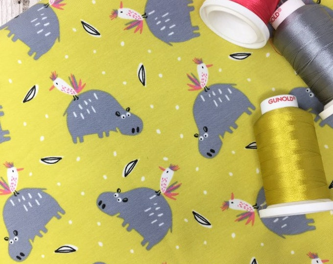 Jersey fabric hippo parrot print - Printed stretch cotton fabric by the metre