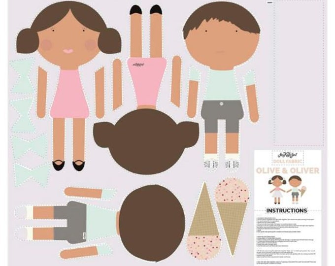 Riley Blake - DIY Doll panel - see kate sew doll making kit - olive and oliver cut and sew doll fabric - childrens sewing kit