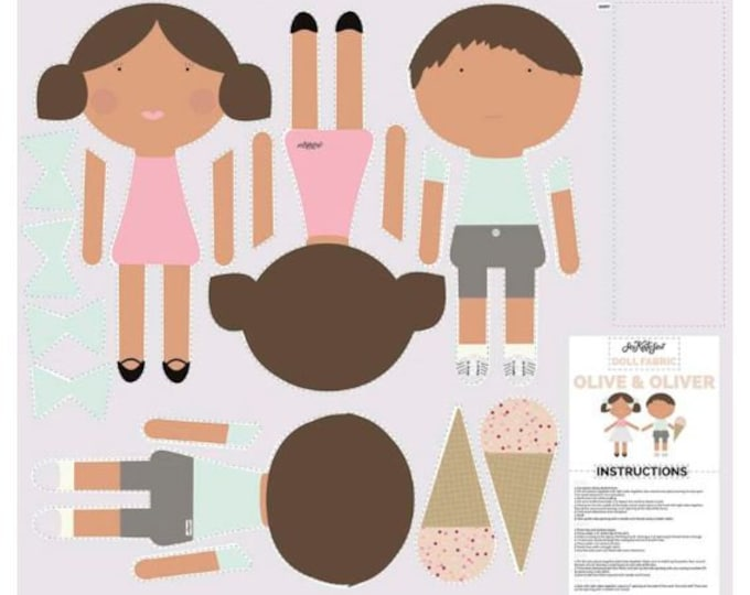 DIY doll panel by riley blake - see kate sew doll making kit - olive and oliver cut and sew doll fabric - childrens sewing kit