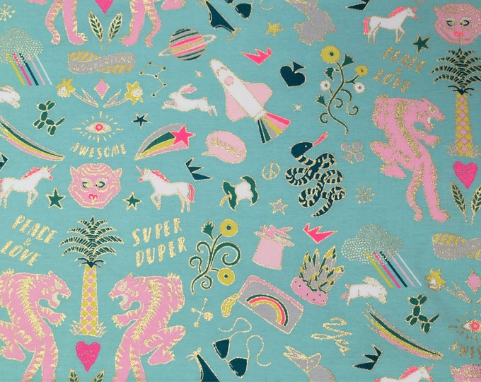 Rico Wonderland collection, jersey, stretch fabric, neon print fabric, unicorn fabric, tiger fabric, gold foil fabric, fabric by the yard,