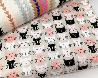 Riley Blake Meow cat print fabric by the metre - Cat print quilting cotton - Black cat woven cotton fabric