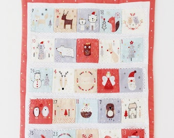 FREE SHIPPING FABRIC, Advent calendar, advent panel, christmas craft, christmas advent, dashwood calendar,christmas calendar