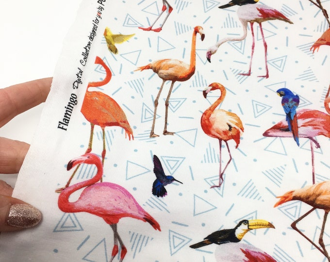 Digital print cotton elastane fabric, flamingo fabric, poppy brand cotton elastane, flamingo jersey, parrot fabric, studio jepson
