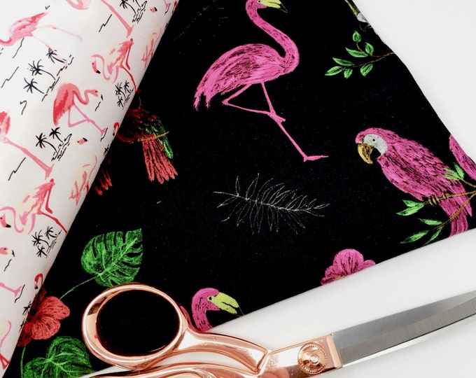 Flamingo and tropical bird print digital print jersey  -  Flamingo stretch jersey  -  Fabric for clothing  -  Printed cotton jersey