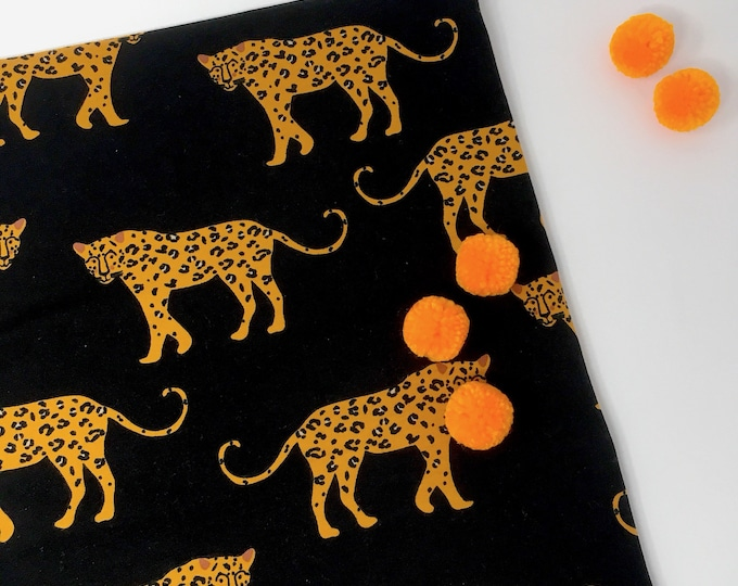 Leopard print cotton spandex jersey knit -  Animal printed fabric - Leopard animal print fabric for t shirts