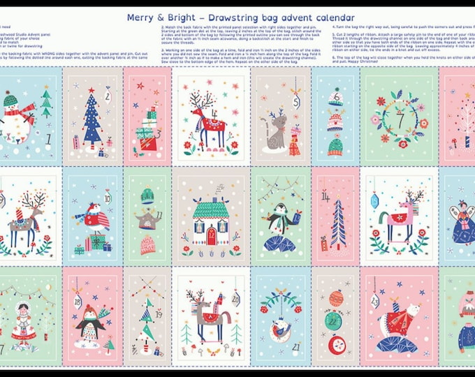 Advent Calendar Bag kit - Advent Panel- Christmas Advent - Dashwood Advent Calendar- Christmas Calendar Kit - Free Shipping Fabric