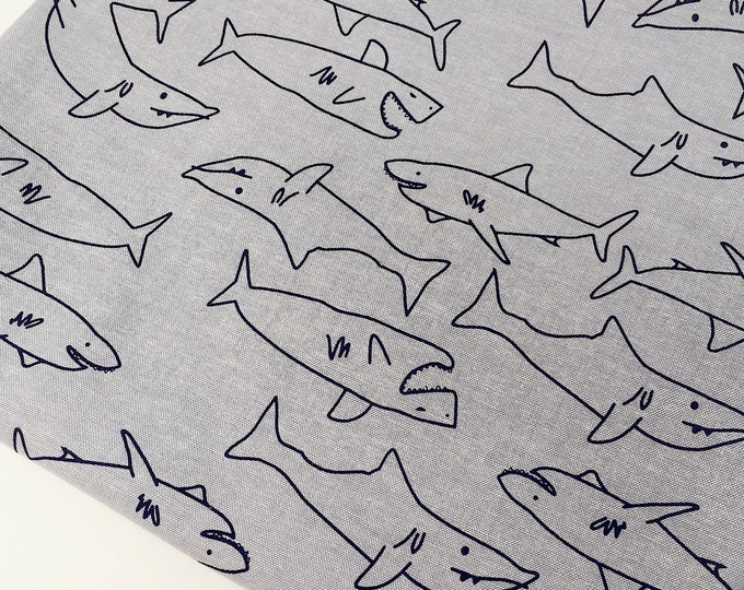 Chambray shirt fabric - Shark print chambray cotton fabric - Chambray fabric by the metre