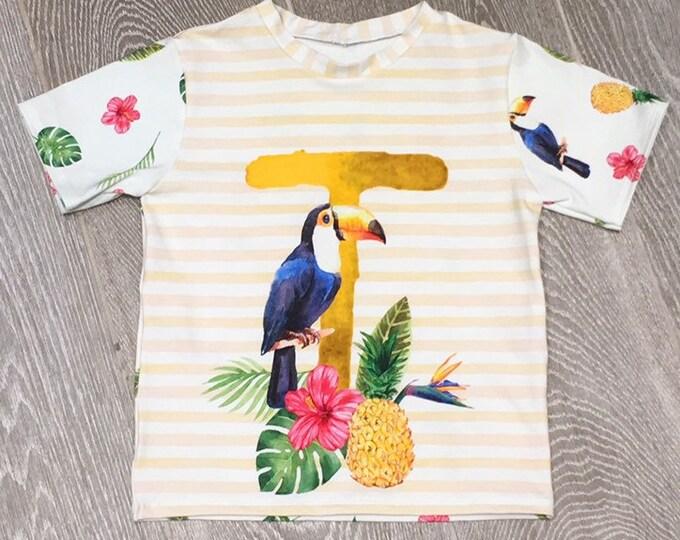 Jersey knit fabric panel - Toucan cotton lycra fabric panel - Tropical fabric - Floral fabric