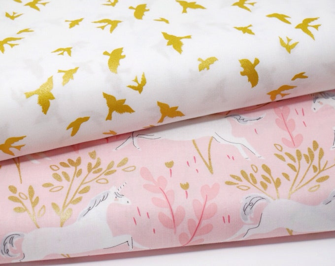 Michael Miller metallic gold bird printed cotton -  White and gold print fabric - Metallic forest quilting fabric -