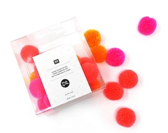 Neon pom poms - Yarn pom poms - Pom pom trim set - Pom poms for crafts