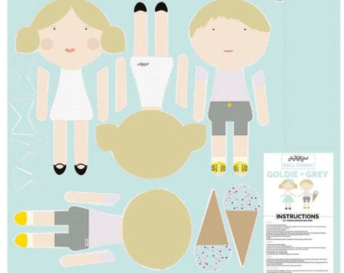 Doll Making Panel - Diy doll pattern fabric panel - Diy doll making - Goldie and Grey doll fabric - Boy and girl doll panel