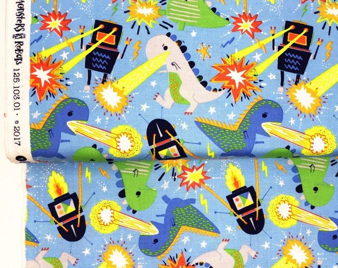 Dinosaur printed cotton fabric - Blend Robot print fabric - Monster dinosaur children's fabric - Laser beam dinosaur cotton by the metre