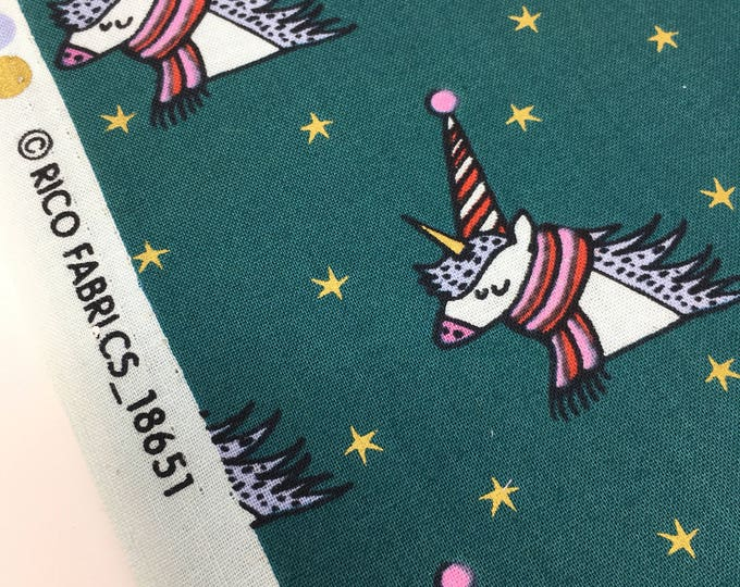 Christmas fabric, Rico Unicorn print fabric, unicorn cotton, unicorn print fabric, christmas unicorn, gold foil fabric.